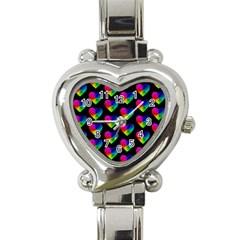 Heart Pattern Rainbow Heart Italian Charm Watch