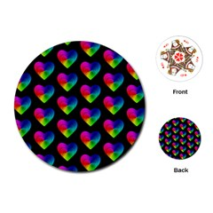 Heart Pattern Rainbow Playing Cards (round)