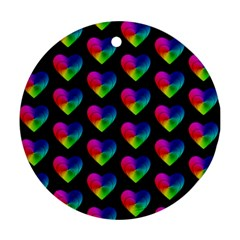 Heart Pattern Rainbow Round Ornament (Two Sides)