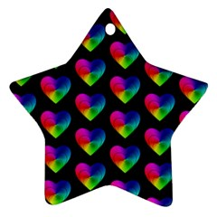 Heart Pattern Rainbow Star Ornament (Two Sides)