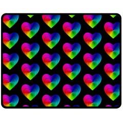 Heart Pattern Rainbow Fleece Blanket (Medium)
