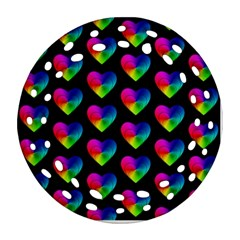 Heart Pattern Rainbow Round Filigree Ornament (2side)