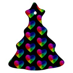 Heart Pattern Rainbow Christmas Tree Ornament (2 Sides)