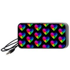 Heart Pattern Rainbow Portable Speaker (Black)