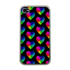 Heart Pattern Rainbow Apple iPhone 4 Case (Clear)