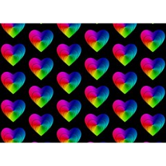 Heart Pattern Rainbow Birthday Cake 3d Greeting Card (7x5)