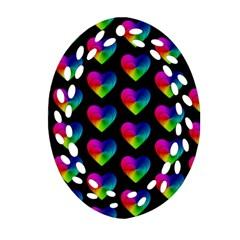 Heart Pattern Rainbow Ornament (oval Filigree)