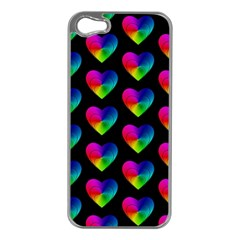 Heart Pattern Rainbow Apple iPhone 5 Case (Silver)