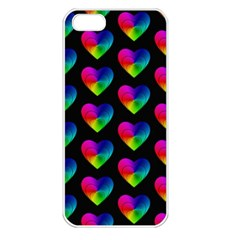 Heart Pattern Rainbow Apple iPhone 5 Seamless Case (White)