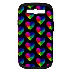 Heart Pattern Rainbow Samsung Galaxy S III Hardshell Case (PC+Silicone)