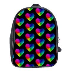 Heart Pattern Rainbow School Bags (XL)