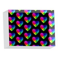 Heart Pattern Rainbow 5 x 7  Acrylic Photo Blocks