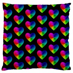 Heart Pattern Rainbow Standard Flano Cushion Cases (Two Sides)