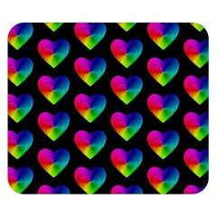 Heart Pattern Rainbow Double Sided Flano Blanket (Small)