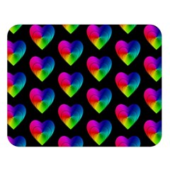 Heart Pattern Rainbow Double Sided Flano Blanket (Large)