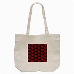 Heart Pattern Red Tote Bag (Cream)