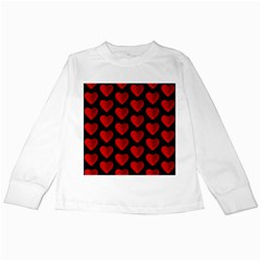 Heart Pattern Red Kids Long Sleeve T Shirts