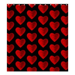 Heart Pattern Red Shower Curtain 66  X 72  (large)