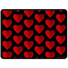 Heart Pattern Red Fleece Blanket (Large)