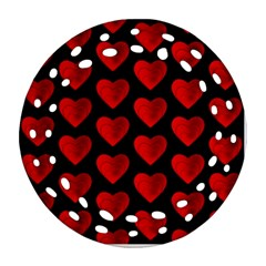 Heart Pattern Red Round Filigree Ornament (2Side)