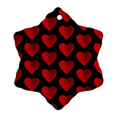 Heart Pattern Red Snowflake Ornament (2-Side)