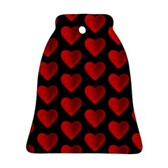 Heart Pattern Red Bell Ornament (2 Sides)