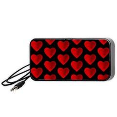 Heart Pattern Red Portable Speaker (black)