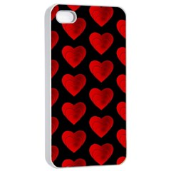 Heart Pattern Red Apple iPhone 4/4s Seamless Case (White)