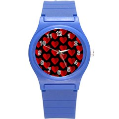 Heart Pattern Red Round Plastic Sport Watch (S)