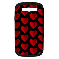 Heart Pattern Red Samsung Galaxy S III Hardshell Case (PC+Silicone)