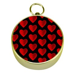 Heart Pattern Red Gold Compasses