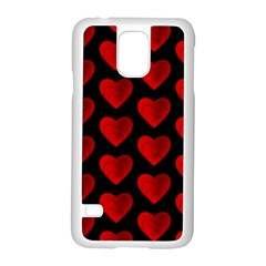 Heart Pattern Red Samsung Galaxy S5 Case (White)