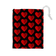 Heart Pattern Red Drawstring Pouches (Large)