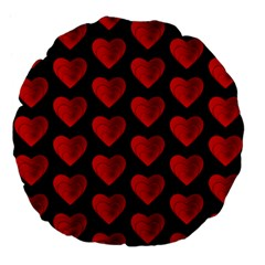 Heart Pattern Red Large 18  Premium Flano Round Cushions