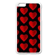 Heart Pattern Red Apple iPhone 6 Plus Enamel White Case