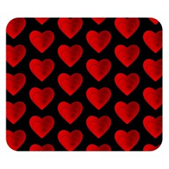 Heart Pattern Red Double Sided Flano Blanket (small)