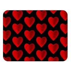 Heart Pattern Red Double Sided Flano Blanket (Large)