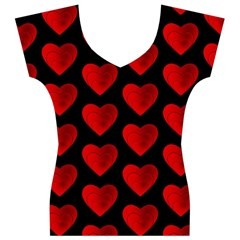 Heart Pattern Red Women s V-Neck Cap Sleeve Top
