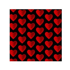 Heart Pattern Red Small Satin Scarf (square)