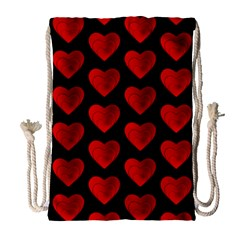 Heart Pattern Red Drawstring Bag (large)