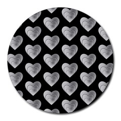Heart Pattern Silver Round Mousepads
