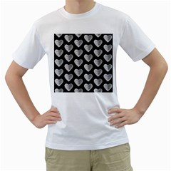 Heart Pattern Silver Men s T-Shirt (White) (Two Sided)