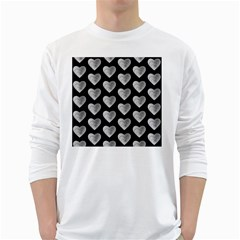 Heart Pattern Silver White Long Sleeve T-Shirts