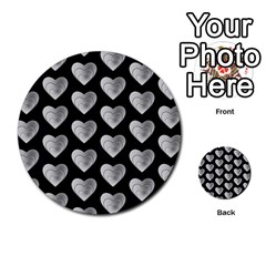 Heart Pattern Silver Multi-purpose Cards (Round)