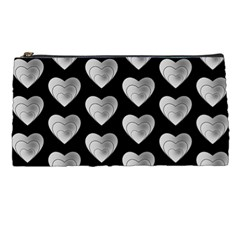 Heart Pattern Silver Pencil Cases