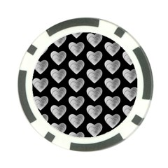 Heart Pattern Silver Poker Chip Card Guards (10 pack)