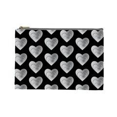 Heart Pattern Silver Cosmetic Bag (Large)
