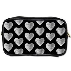 Heart Pattern Silver Toiletries Bags 2-Side