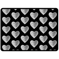 Heart Pattern Silver Fleece Blanket (Large)