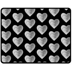 Heart Pattern Silver Fleece Blanket (Medium)
